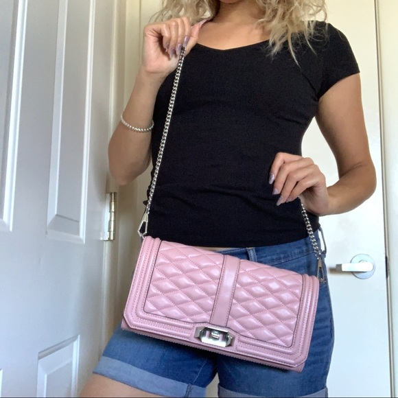 Rebecca Minkoff Handbags - Rebecca Minkoff Pink Quilted Leather Love Clutch